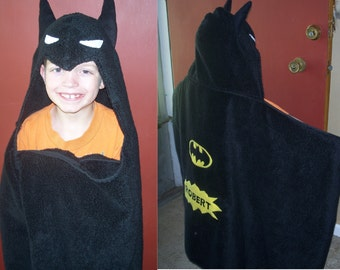 Black Bat Superhero Hooded Towel - Free Personalization