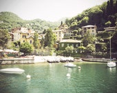 Italian Village-Varenna Italy on Lake Como-Boats on the Water-Vintage Style Travel Photography-8x10