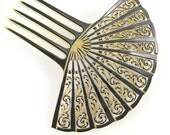 Vintage Hair Ornament, Celluloid Mantilla Comb, Spanish Sunray Filigree Fan, 1930s Vintage Accessory