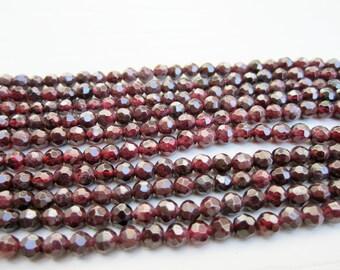 "GB-1085 - Natural Garnet Faceted Round Beads - 4mm Gemstone Beads - 16"" Strand"