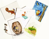 Postcard Set Illustrations, Woodland Hedgehog, Owl, Fox, Cabin, Violin, affordable art, 4 x 6