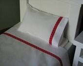 """18"""" Doll Bedding - 3 Piece Linen/Sheet Set - Sheet, Pillow, Pillowcase - Red Polka Dot"""