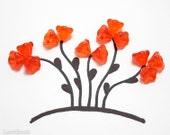 Bright Orange Czech Flower Beads 8mm (20) Hot Pressed Glass Bell Trumpet Spring LAST