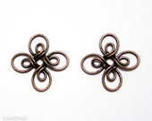 Metal Square Flower Wire Connector Beads (10) Antiqued Copper colour Red Brass Charm Pendant    LAST