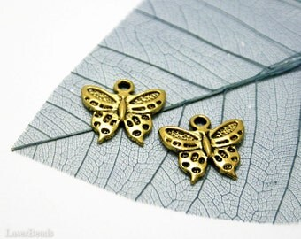 SALE Gold Butterfly Pendant (10) Metal Antiqued Charm Beads last