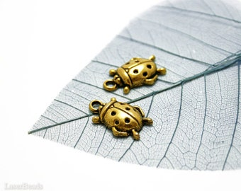 SALE Gold Ladybug Pendant (10) Metal Antiqued Charm Beetle Bug Beads last