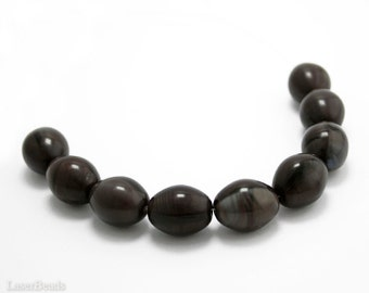 Brown Olive Glass Beads 18mm (4) Czech Pressed Opaque Genuine Olive Chocolate Large Big