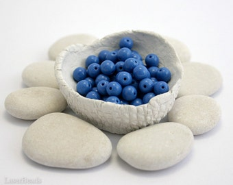 Blue Czech Round Beads approx. 5mm (50) Pressed Druk Opaque Glass Thin Small Spacers last