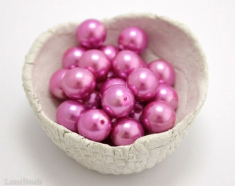 Pink Czech Glass Pearl Beads 9mm (20) Pressed Round Druk Opaque Fuchsia