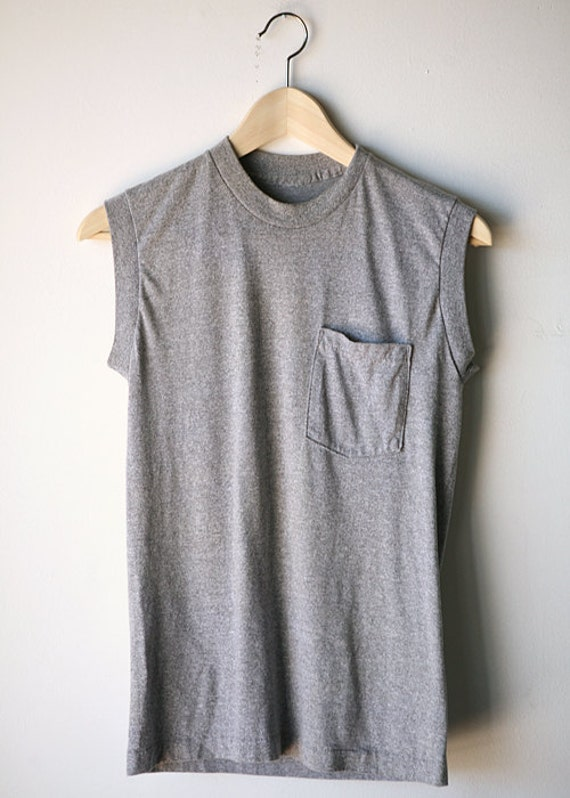 80s HEATHER grey MUSCLE TEE sheer soft tank top
