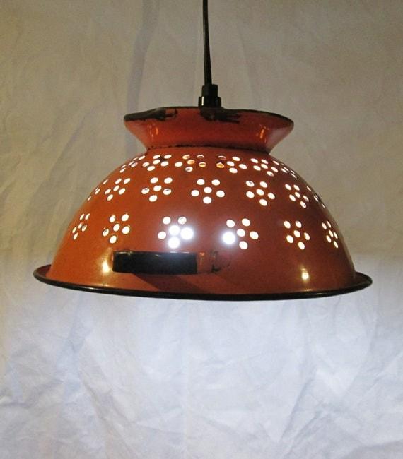 Vintage Colandar Upcycled Pendant Light Repurposed Hanging