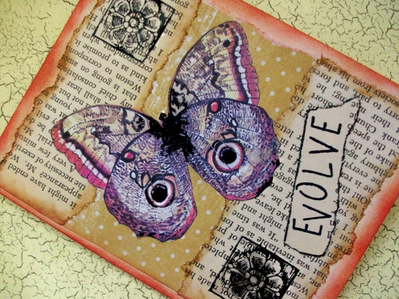 """OOAK Art Collage and Ink Card """"EVOLVE"""""""