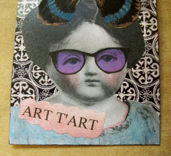 "SALE - OOAK ACEO collage and ink ""Art T'Art"""