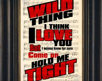 The Troggs Wild Thing Lyrics on upcycled 1920's music sheet print