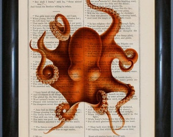 Octopus 2 cephalopod  Print on vintage up cycled 1860's Page