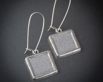 Prime Numbers Pendant Earrings - Hammered Rhodium Plated Pendant -  Loupe Optional