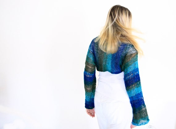 Long sleeved shrug fashion knit in teal turquoise blue green, the Electra Shrug, gift for her under 75