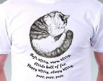 Cat Shirt Big Bang Theory Soft Kitty Warm Kitty Geek Sleeping Hand Drawing Art print men T-shirt - White Tee S, M, L, XL, XXL