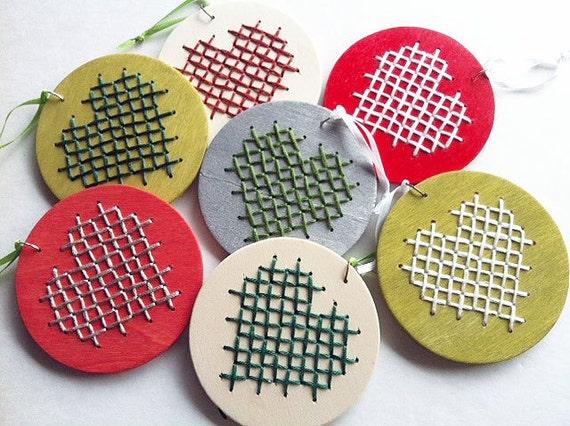 Christmas Ornament complete KIT - two heart cross stitch DIY sampler beginner