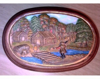 1981 Hershey Molds Hunting Scene Trinket Box