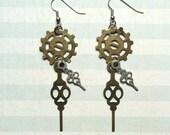 Steampunk Jewelry - Steampunk Earrings - Steampunk Dangle Earrings with Gear and Clock Hands - Steampunk Jewelry - Watch Earrings