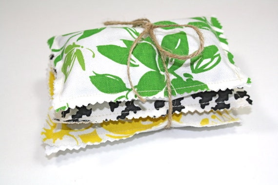 Lavender Drawer and Closet Sachets of Vintage Fabric, Set of Three- Funky Retro Green Black Yellow Floral Leaves and Helms Tooth