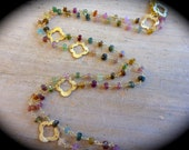 SET of Tourmaline and Gold Clover necklace and bracelet
