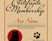 Society of Mad Old Cat Ladies personalised certificate