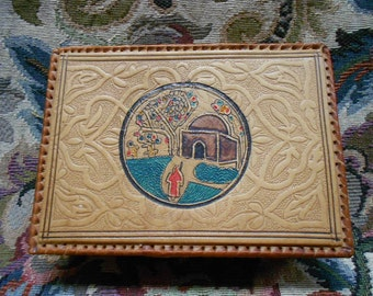 Vintage Handpainted and Tooled Leather Box (A447)