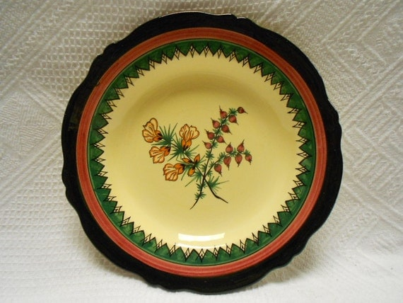Henriot Quimper French Vintage Handpainted Floral Yellow Faience Dessert Plate(s) (A532)