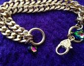 Chunky Gold color Chain Link Bracelet  swarovski pendant