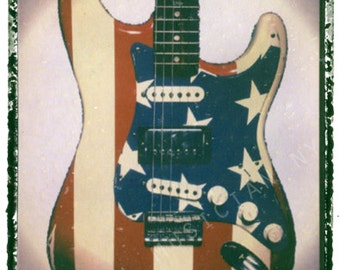 american flag electric guitar art print 5 x 7, gift for guy, gift for boyfriend