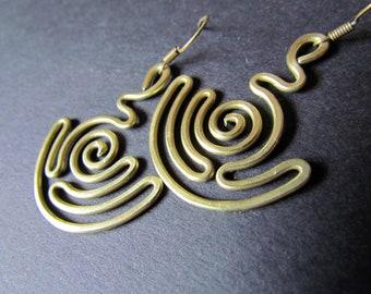Pendulum Wire Wrapped Brass Earrings