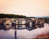 Fine Art Photo Print--Floating Homes on the Columbia River in Pastel--Fine Art Landscape Photography 8x12