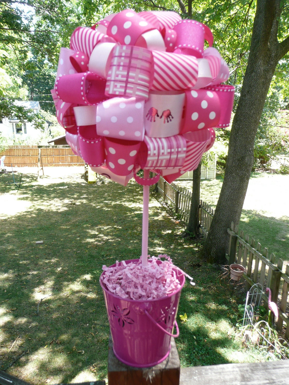 It s a girl ribbon topiary for baby shower