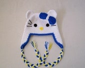 Crochet Hello Kitty Hat With Earflap. Crochet Baby Hat