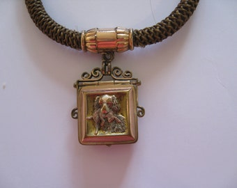 Antique Victorian Mourning Hair Watch Chain Necklace - Hunting Theme