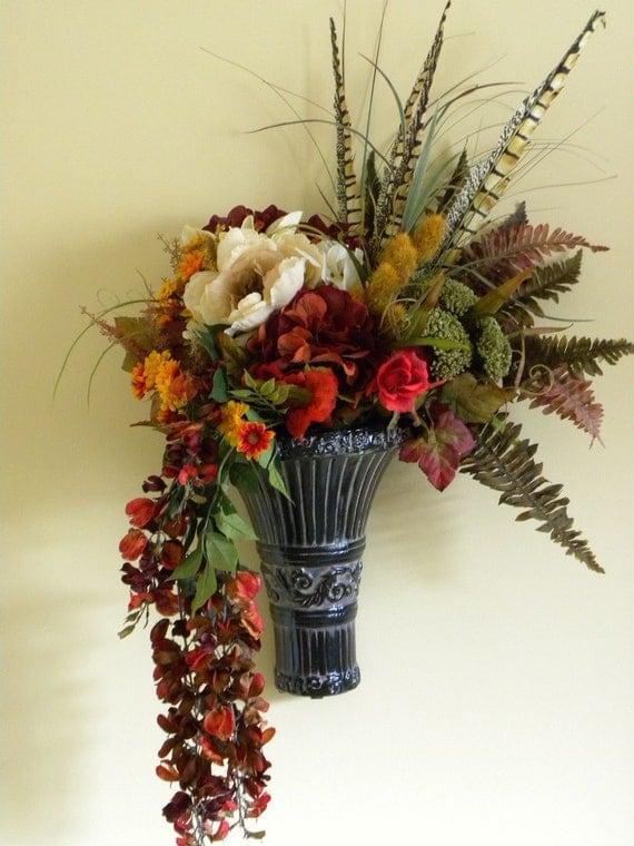 Items similar to Flower Arrangement Wall Decor Fall ... on Silk Flower Wall Sconces Arrangements id=32244