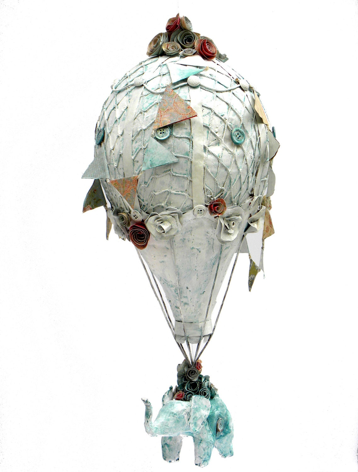 papier m ch hot air balloon with elephant by swankyegg on etsy. Black Bedroom Furniture Sets. Home Design Ideas