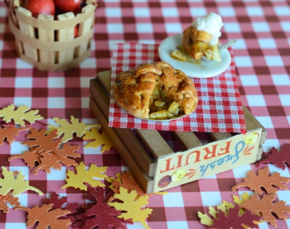Miniature Apple Pie and Slice with Vanilla Ice Cream