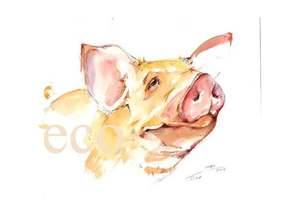10x8 inch OiNK  ORiGinal Watercolor