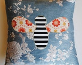 "Honeybee Cushion Cover made with retro fabric, 15 x 15"", blue, brown, white dots"