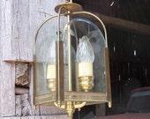 Antique Brass Ceiling Pendant -- Vintage Hanging Lantern Light