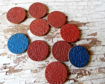 Vintage Food Rationing Chips, Historical OPA Office of Price Administration WWII 10 Chits, Vulcanized Celluloid