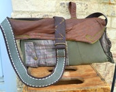 RESERVED FOR FRANNIE green leather-cotton cross bag- adjustable-upcycled