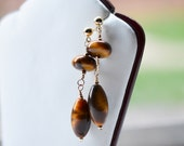 Tiger Eye Gold Filled Dangle Earrings / Gold Filled Studs Wire Wrapped Gemstone Earrings / GF