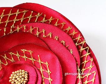 Deep Red & Gold Flower Satin Brooch, Red Wedding Brooch, Mother of Bride Brooch