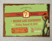 Camping invitation | Nature birthday invitation | Kids camping birthday party