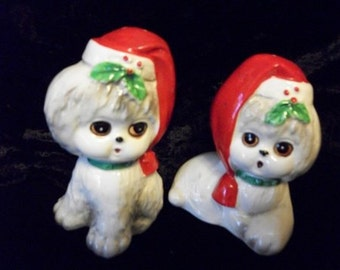 Puppy Salt & Pepper Shakers  Numbered w/Seals Japan