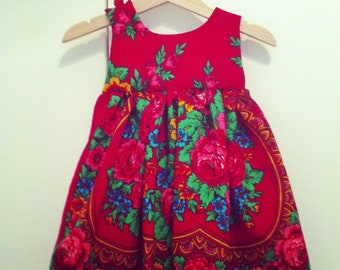 Custom made Baby girl wool dress from traditional Russian Shawl by makeYOUmine